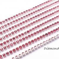 Štrasová borta - ružovofialová - 2 mm - cena za 10 cm