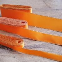 Taftová stuha s lurexom - 15 mm - Oranžová