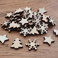 Drevené výlisky vianočný motív - náhodný mix 50 kusov