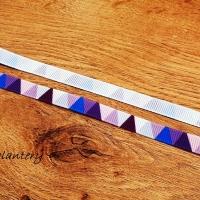 Rypsová stuha 10 mm - Trojuholníky - Fialové