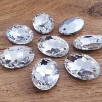 Ozdobné kamienky našívacie - Ovál 18 x 25 mm - Crystal - sklenené