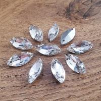 Ozdobné kamienky našívacie 7 x 15 mm - Crystal Rivolkové - sklenené
