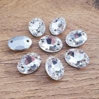 Ozdobné kamienky našívacie - Ovál 10 x 14 mm - Crystal - sklenené
