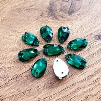 Ozdobné kamienky našívacie 7 x 12 mm - Emerald - sklenené