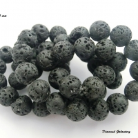 Lávové korálky 10 mm - čierne