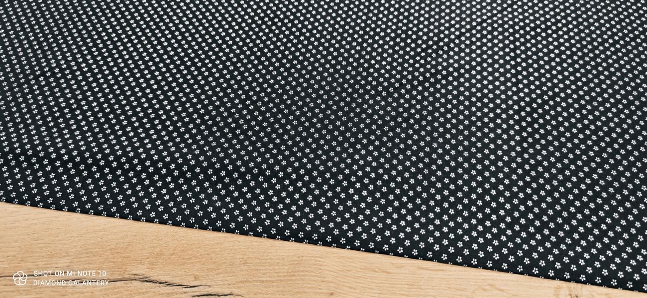 Bavlnená látka - Kvietočky čierne - cena za 10 centimetrov