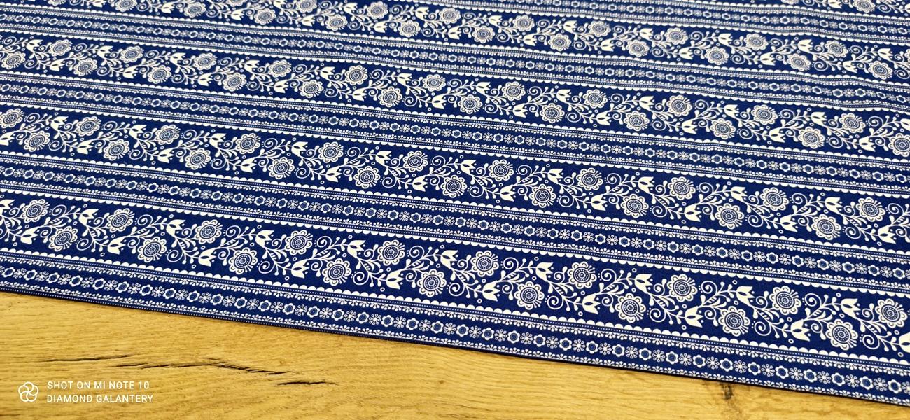 Bavlnená látka - Vzory v páse modré - cena za 10 centimetrov