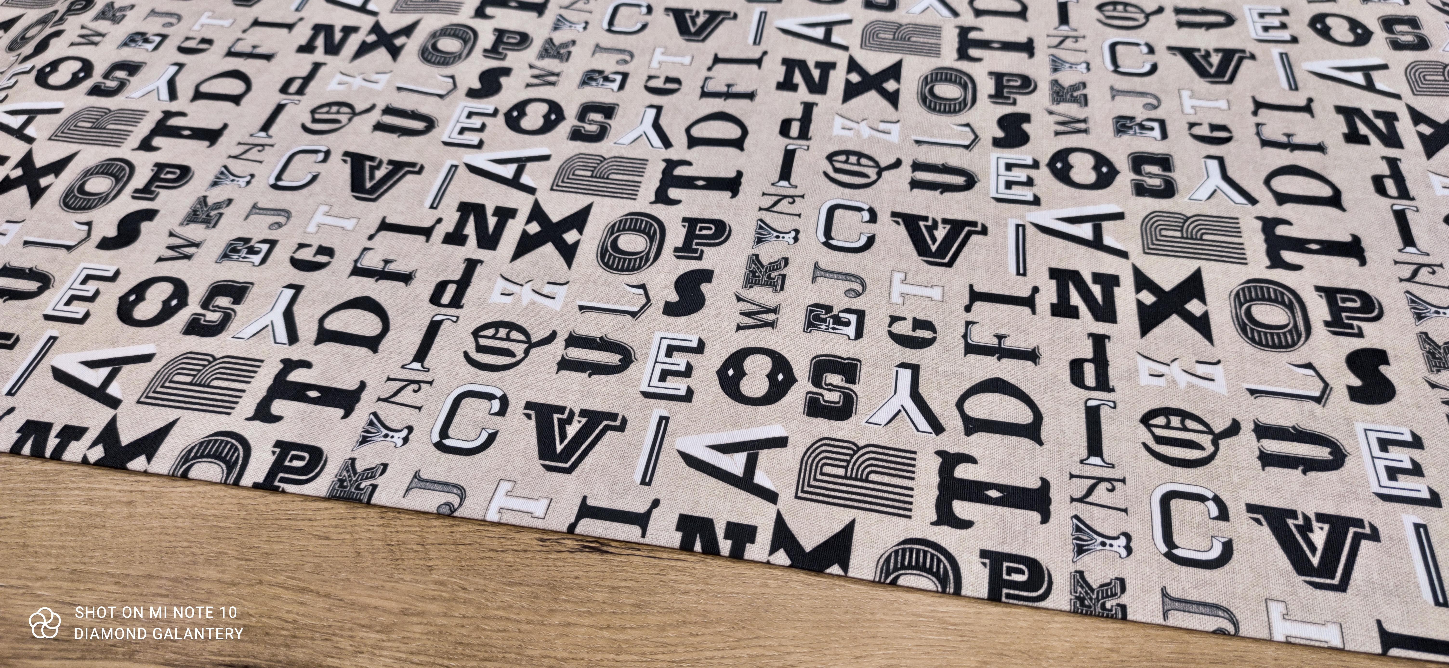 Bavlna režná - Písmo - cena za 10 cm