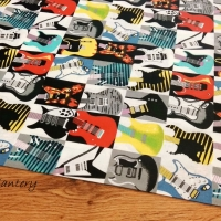 Bavlnená látka - Gitary - cena za 10 centimetrov