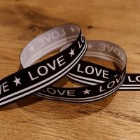 Rypsová stuha 25 mm - Love - Čierno biela