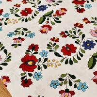 Bavlnená látka - Folk biely - cena za 10 centimetrov
