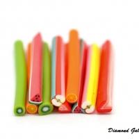 Polymérové ozdobné tyčinky - 5 kusov (Pomaranč, Jahoda, Kivi, Melón, Jablko)