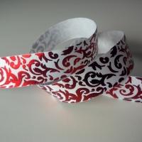 Rypsová stuha 22 mm - Červené ornamenty - biela
