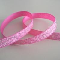 Rypsová stuha 10 mm - Biele ornamenty - ružová