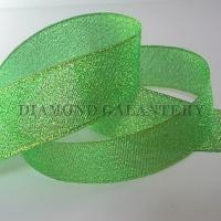 Brokátová stuha 25 mm - zelená