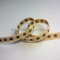 Rypsová stuha 10 mm - Hnedé bodky - béžová