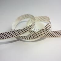 Rypsová stuha 10 mm - Bodky tmavohnedé - biela