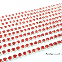 Štrasová borta - červená - 2 mm - cena za 10 cm
