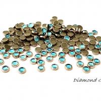 Hot fix ozdobné kamienky - 4 mm - modré