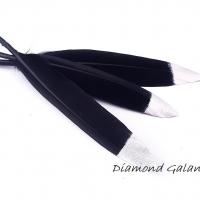 Dekoračné pierka čierno strieborné
