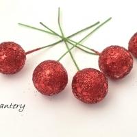 Ozdobný bobuľový zápich trblietavý - červený