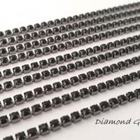 Štrasová borta čierna na čiernom - 2 mm - cena za 10 cm