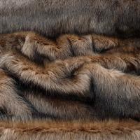 Kožušina umelá - Hnedočierny melír II - cena za 10 cm