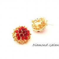 Brošňa ozdobná - 20 mm - červeno zlatá