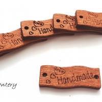 Drevená aplikácia Handmade - 10 x 30 mm - tmavohnedá