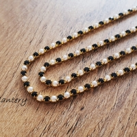 Štrasová borta perličková - Čierna - 2 mm - cena za 10 cm