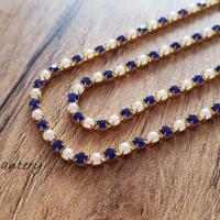 Štrasová borta perličková - Kráľovská modrá - 2 mm - cena za 10 cm