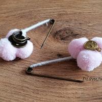 Brošňová Pompom spinka - Ružová