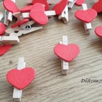 Ozdobné drevené štipčeky so srdiečkom