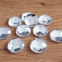 Ozdobné kamienky našívacie 17 mm - Crystal - 10 kusov