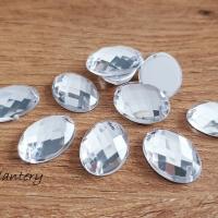 Ozdobné kamienky našívacie 19 x 14 mm - Crystal - 10 kusov