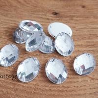 Ozdobné kamienky našívacie 12 x 18 mm - Crystal - 10 kusov