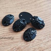 Ozdobné kamienky našívacie 13 x 15 mm - Čierne - 5 kusov
