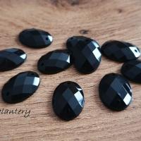 Ozdobné kamienky našívacie 8 x 18 mm - Čierne - 10 kusov