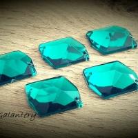Ozdobné kamienky našívacie 17 x 21 mm - Smaragdovo zelená - 5 kusov