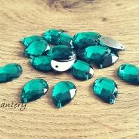 Ozdobné kamienky našívacie 11 x 15 mm - Smaragdovo zelené - 20 kusov