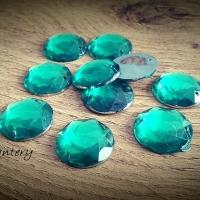 Ozdobné kamienky našívacie - 17 mm - Smaragdovo zelené - 10 kusov