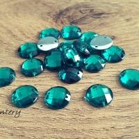 Ozdobné kamienky našívacie 12 mm - Smaragdovo Zelené - 20 kusov