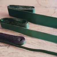Taftová stuha s lurexom - 10 mm - Tmavá zelená
