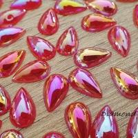 Ozdobné kamienky 8 x 13 mm - Červené s AB Efektom