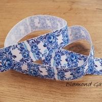 Rypsová stuha 25 mm - Folk kvety modré