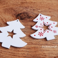 Vianočný výlisok Stromček - BIely