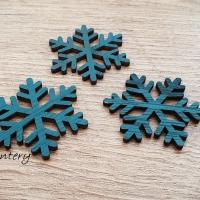 Vianočný výlisok Vločka - 45 x 40 mm - Tmavý Tyrkys