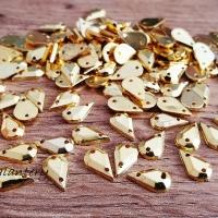 Ozdobné kamienky našívacie 6 x 10 mm - Zlaté