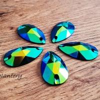 Ozdobné kamienky našívacie 16 x 28 mm - AB Modro zelené