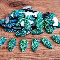 Ozdobné kamienky našívacie 10 x 20 mm - Zelené AB